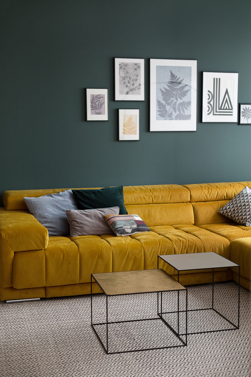 Wohnzimmer wandfarbe Farbe grün Malerei