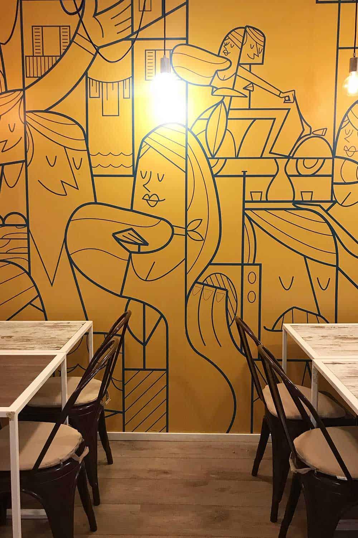 Tapete Modern Gelb Graffiti